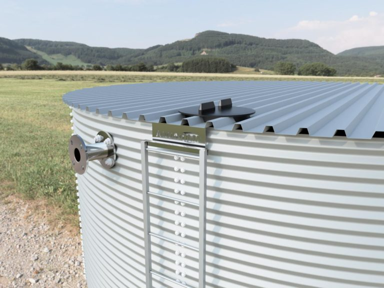 Close up of silver steel rainwater tank