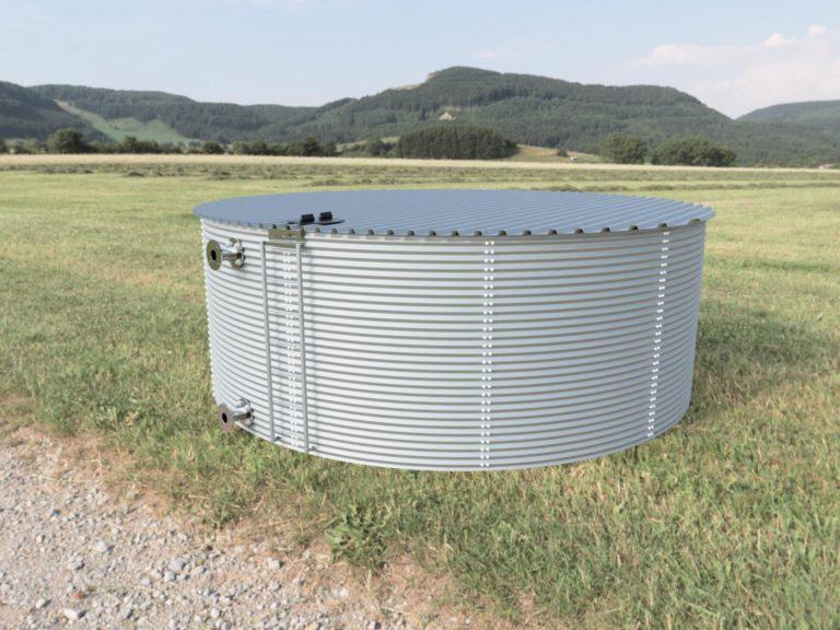 Sliver steel rainwater tank