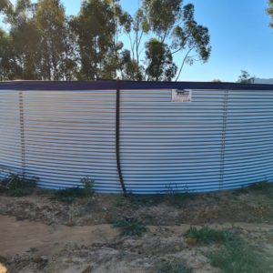 Silver epoxy coated steel bolted tank